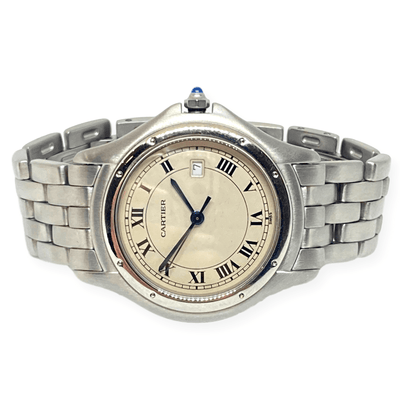 Mark Areias Jewelers Jewellery & Watches Pre-Owned Cartier Cougar Watch All Stainless Steel Quartz, Date, 33mm 6""