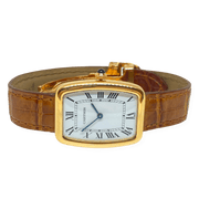 Mark Areias Jewelers Jewellery & Watches Pre-Owned Cartier Incuvee Tonneau Mechanical 18K Yellow Gold Watch on Strap 1973