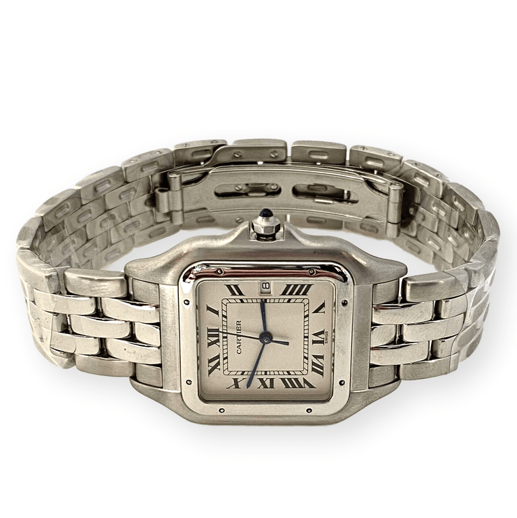 "Mark Areias Jewelers Jewellery & Watches Pre-Owned Cartier Jumbo XL Panthere Watch All Stainless Steel Quartz, Date, 8"" 29mm"