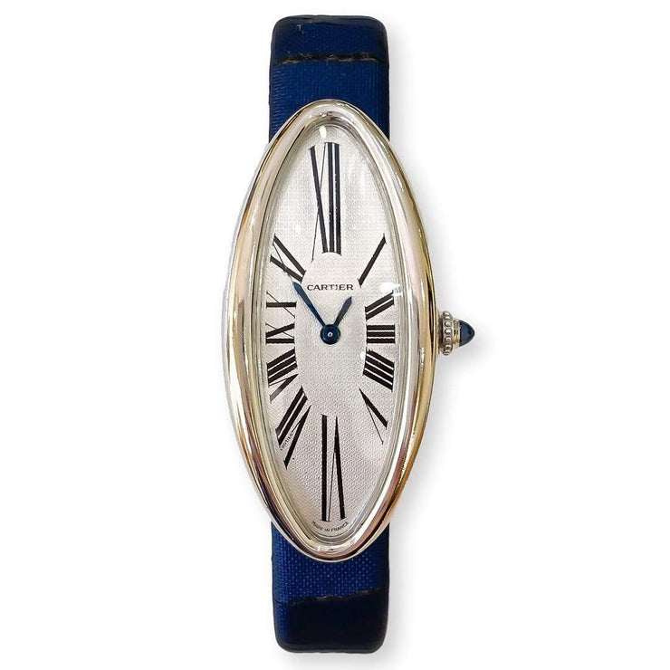Mark Areias Jewelers Jewellery & Watches Pre-Owned Cartier Ladies Baignoire Allongee Oval 18K White Gold Watch Mechanical VERY RARE