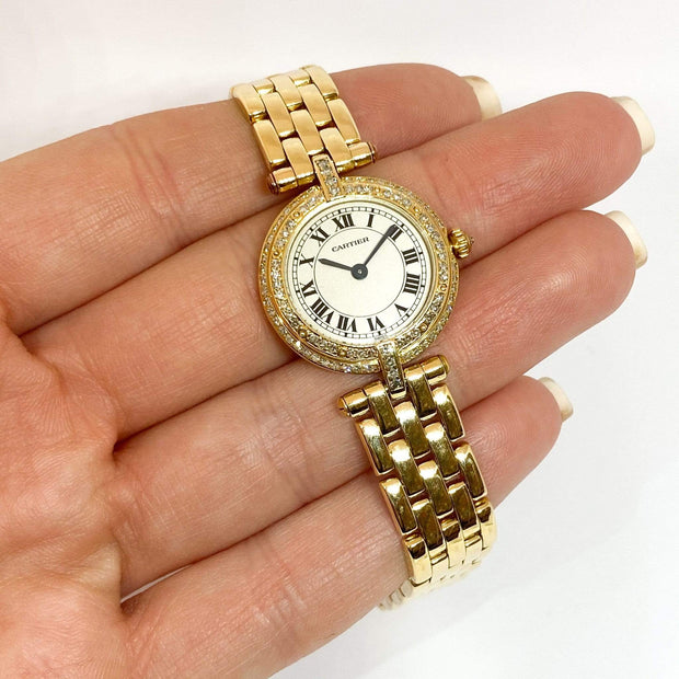 Mark Areias Jewelers Jewellery & Watches Pre-Owned Cartier Lady's Panthere Vendome Diamond Watch 18KY Gold Quartz 24mm