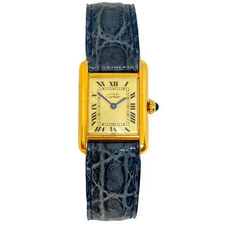 Mark Areias Jewelers Jewellery & Watches Pre-Owned Cartier Lady's Small Must Tank Vermeil Watch on Blue Leather Strap