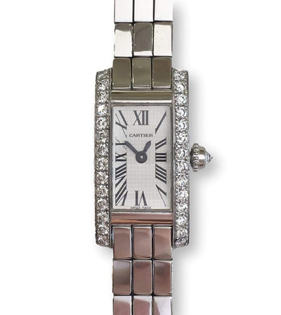 Mark Areias Jewelers Jewellery & Watches Pre-Owned Cartier Lanieres Allongee 18K White Gold Diamond Case Quartz Watch W15364W3