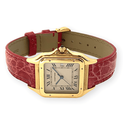 Mark Areias Jewelers Jewellery & Watches Pre-Owned Cartier Large Panthere Watch 18K Yellow Gold Leather Strap Quartz Date 27mm