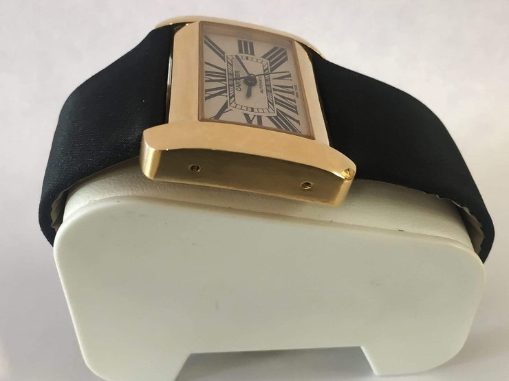 Mark Areias Jewelers Jewellery & Watches Pre-Owned Cartier Large Tank DIVAN Satin Black Strap Automatic 18K Yellow Gold #2603