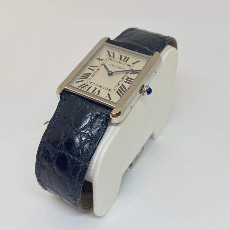 Mark Areias Jewelers Jewellery & Watches Pre-Owned Cartier Large Tank Solo Stainless Steel Black Strap Watch