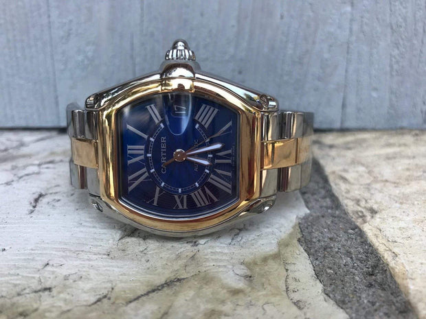 Mark Areias Jewelers Jewellery & Watches Pre-Owned Cartier Limited Edition Roadster Centennial Blue Dial Steel & 18K Watch