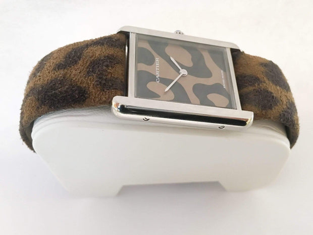 Mark Areias Jewelers Jewellery & Watches Pre-Owned Cartier Limited Edition Tank Solo Steel Leopard Print Strap & Dial Quartz #3169