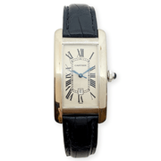 Mark Areias Jewelers Jewellery & Watches Pre-Owned Cartier Medium Tank Americaine Auto 18K White Gold Leather Strap