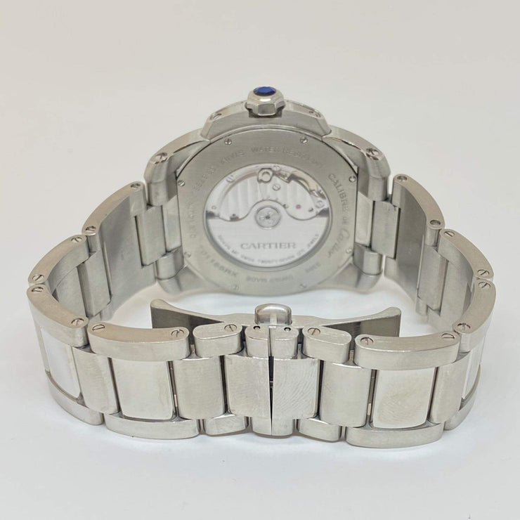 Mark Areias Jewelers Jewellery & Watches Pre-Owned Cartier Men's Calibre Steel Silver Dial on Bracelet Auto Watch 3389 42mm