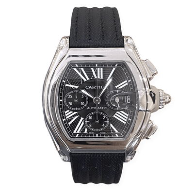 Mark Areias Jewelers Jewellery & Watches Pre-Owned Cartier Men's XL Chronograph Roadster Steel Black Strap Automatic Watch 2618