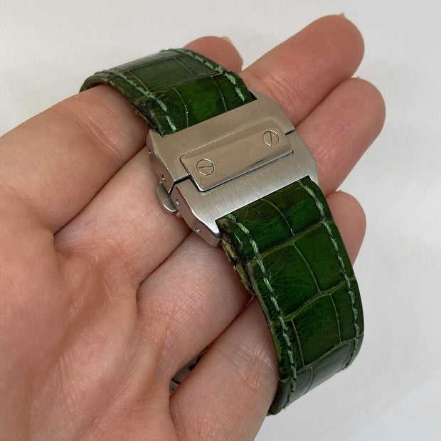 Mark Areias Jewelers Jewellery & Watches Pre-Owned Cartier Men's XL Santos 100 Stainless Steel 38mm Green Strap Auto Watch 2656