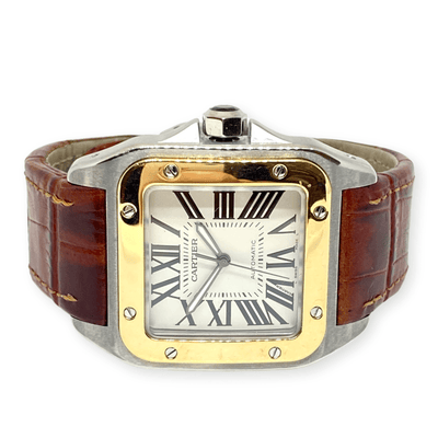 Mark Areias Jewelers Jewellery & Watches Pre-Owned Cartier Men's XL Santos 100 Steel & 18KY Brown Strap Auto Watch 2656 38mm