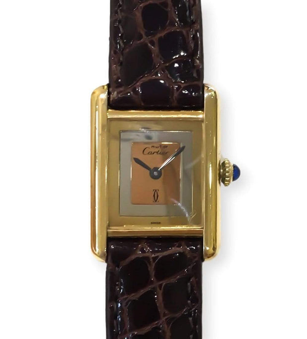 Mark Areias Jewelers Jewellery & Watches Pre-Owned Cartier Must Tank Mechanical Tri-Tone Dial Yellow Vermeil Watch on Leather Strap