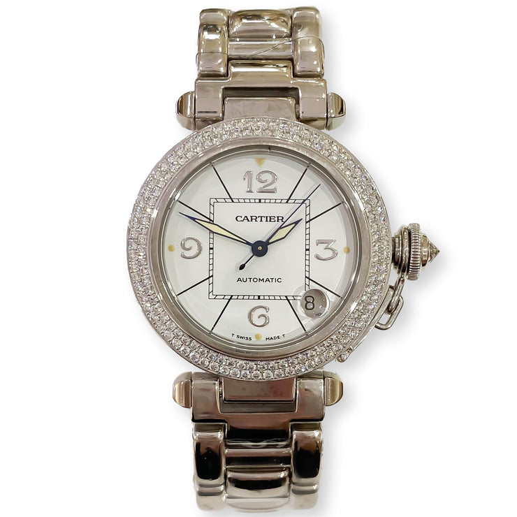 "Mark Areias Jewelers Jewellery & Watches Pre-Owned Cartier Pasha 18K Solid White Gold Diamond Bezel 35mm, Automatic, 8"" 2.86ctw"