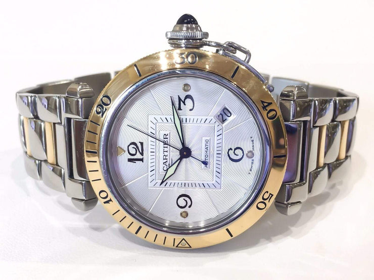 Mark Areias Jewelers Jewellery & Watches Pre-Owned Cartier Pasha Stainless Steel & 18K Yellow Gold 38MM Automatic w/Date
