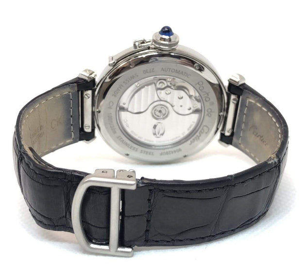 Mark Areias Jewelers Jewellery & Watches Pre-Owned Cartier Pasha Stainless Steel Auto Watch on Leather Strap, Exhibition