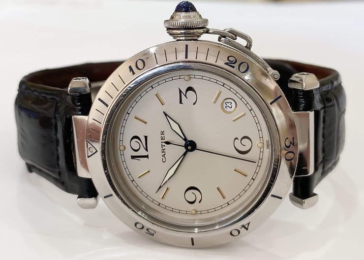 Mark Areias Jewelers Jewellery & Watches Pre-Owned Cartier Pasha Stainless Steel Automatic Watch on Strap 38mm