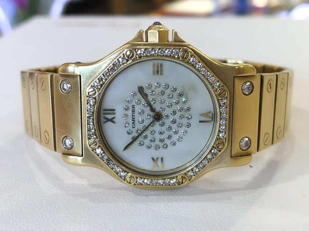 Mark Areias Jewelers Jewellery & Watches Pre-Owned Cartier Santos Octagon Automatic Diamond and Mother of Pearl on Bracelet 1.50ctw