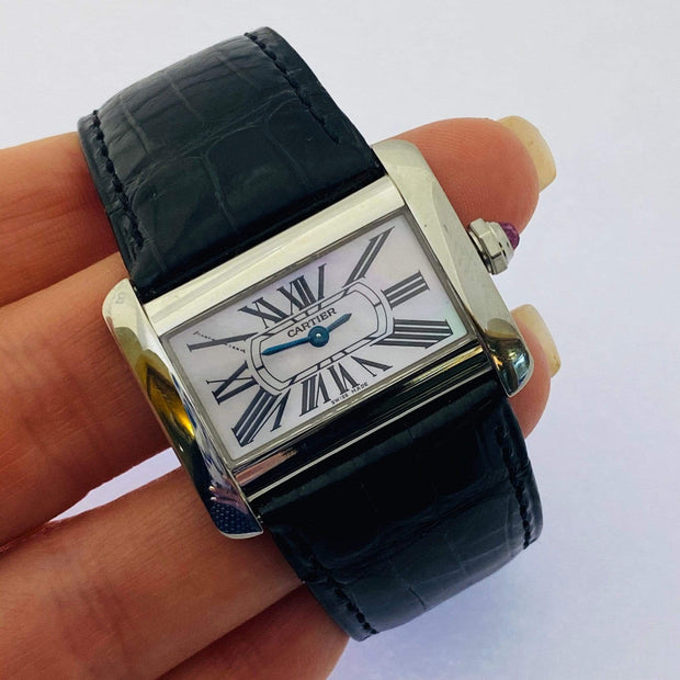 Mark Areias Jewelers Jewellery & Watches Pre-Owned Cartier Small Divan Mother of Pearl Dial Pink Cabochon Steel Quartz Watch #2599