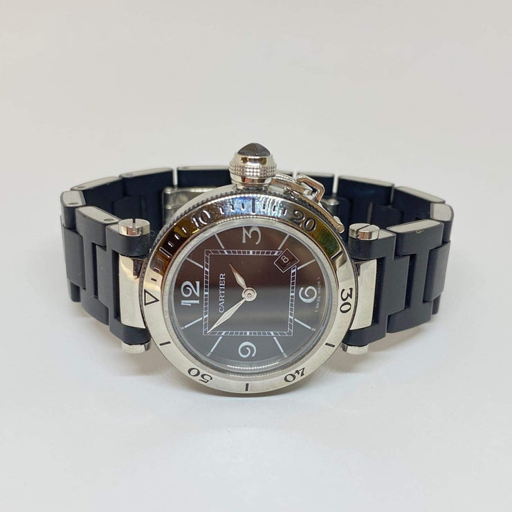 Mark Areias Jewelers Jewellery & Watches Pre-Owned Cartier Small Pasha Seatimer Stainless Steel & Black Rubber Quartz 33MM