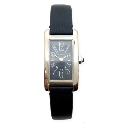Mark Areias Jewelers Jewellery & Watches Pre-Owned Cartier Small Tank Americaine 18K White Gold, Grey Dial on Satin Strap