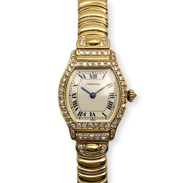 Mark Areias Jewelers Jewellery & Watches Pre-Owned Cartier Small Tortue Diamond Case and Crown on Bracelet