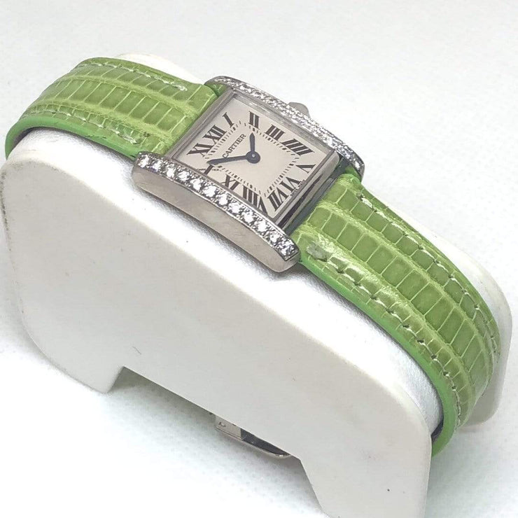 Mark Areias Jewelers Jewellery & Watches Pre-Owned Cartier Tank Francaise 18K White Gold Diamond Case on Green Strap w/ADB #2403