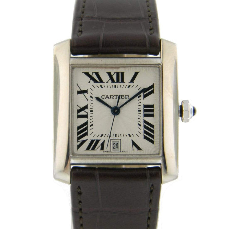 Mark Areias Jewelers Jewellery & Watches Pre-Owned Cartier Tank Francaise Automatic 18K White Gold Brown Leather Strap Watch
