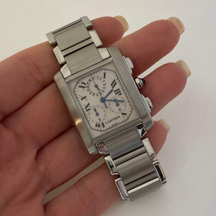 Mark Areias Jewelers Jewellery & Watches Pre-Owned Cartier Tank Francaise Chronoreflex Steel Watch Quartz W51001Q3 2303