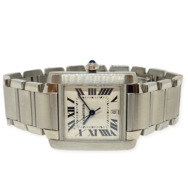 Mark Areias Jewelers Jewellery & Watches Pre-Owned Cartier Tank Francaise Large Steel Automatic Watch #2302 28mm 8""
