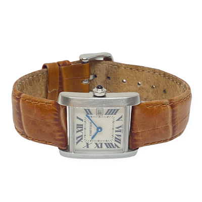Mark Areias Jewelers Jewellery & Watches Pre-Owned Cartier Tank Francaise Medium Size Steel Quartz Leather Strap Watch