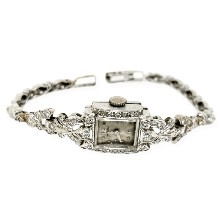 Mark Areias Jewelers Jewellery & Watches Pre-Owned Hamilton Vintage Estate Diamond Lady's Watch 14K White Gold 1CTW