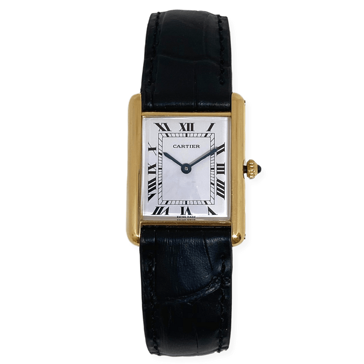 Mark Areias Jewelers Jewellery & Watches Pre-Owned Large Louis Cartier Tank 18K Yellow Gold Black Strap Classic Quartz Watch