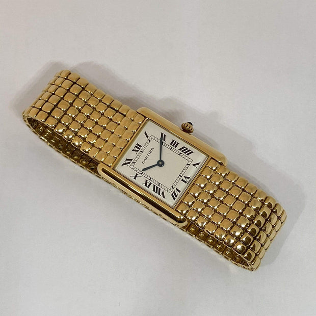 Mark Areias Jewelers Jewellery & Watches Pre-Owned Large Louis Cartier Tank Watch Serpent Mesh Bracelet 18K Gold Quartz