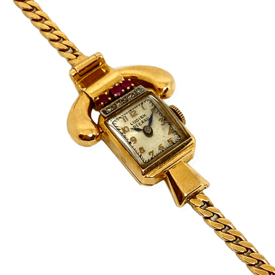 Mark Areias Jewelers Jewellery & Watches Pre-Owned Lucien Picard Ruby and Diamond Vintage Watch 1940's 14K Yellow Gold