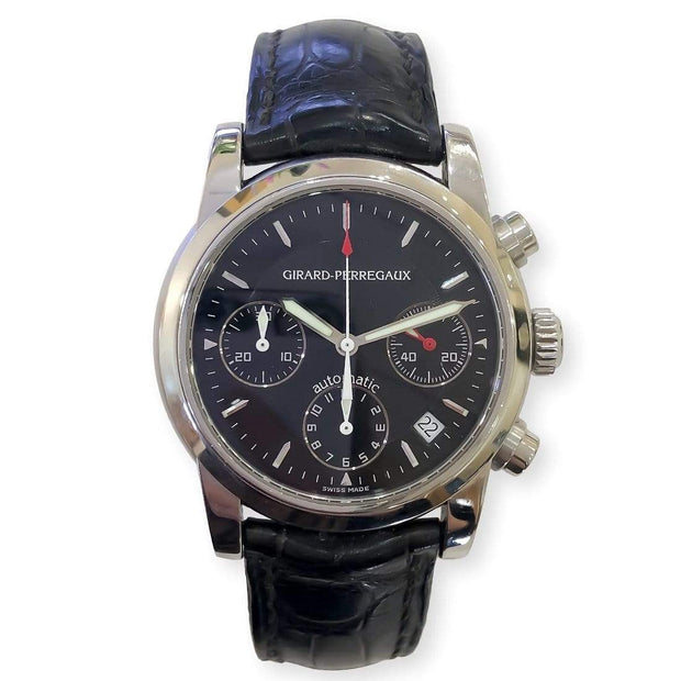 Mark Areias Jewelers Jewellery & Watches Pre-Owned Men's Girard Perregaux Chronograph Sport Classique Steel Automatic Black Watch