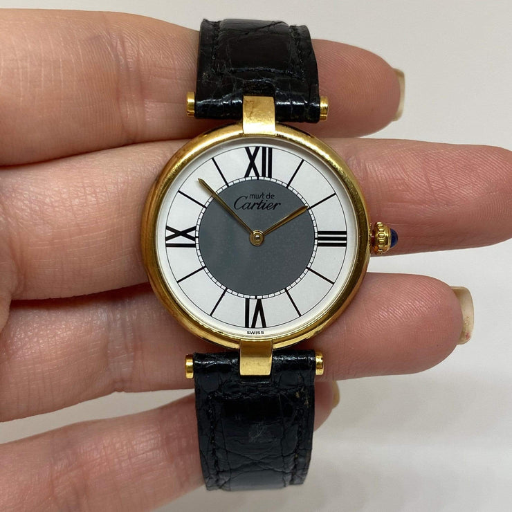 Mark Areias Jewelers Jewellery & Watches Pre-Owned Must de Cartier Vendome Yellow Vermeil Watch on Leather Strap 30mm