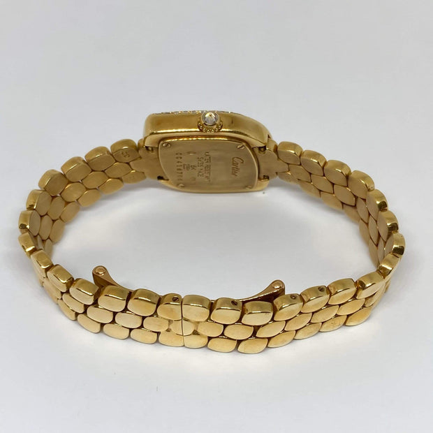 Mark Areias Jewelers Jewellery & Watches Pre-Owned Rare Cartier Lady's Navette Diamond Watch Bracelet 18KY Gold Quartz