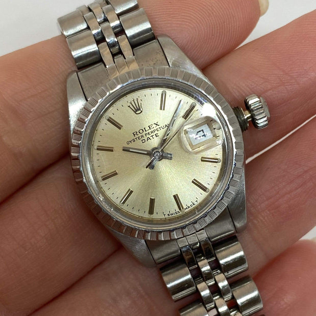Mark Areias Jewelers Jewellery & Watches Pre-Owned Rolex Lady's Date Just Steel Silver Dial Jubilee Bracelet Auto 26mm 1989 #69240