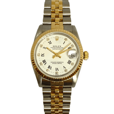 Mark Areias Jewelers Jewellery & Watches Pre-Owned Rolex Lady's Datejust Midsize 31mm 18K Yellow & Steel Diamond Dial 1985 #68273
