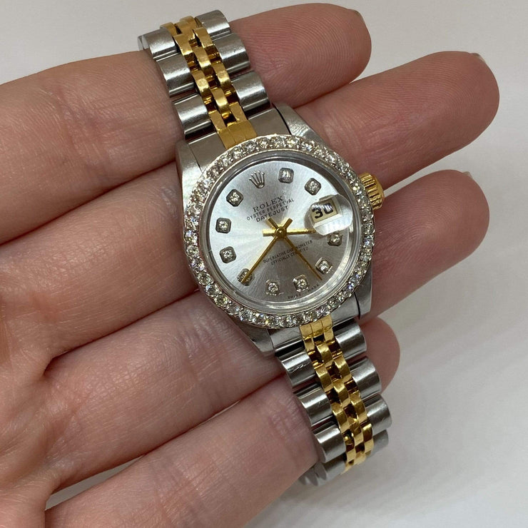 Mark Areias Jewelers Jewellery & Watches Pre-Owned Rolex Lady's Diamond Date Just Steel 18K Jubilee Bracelet 26mm 2002 #79173