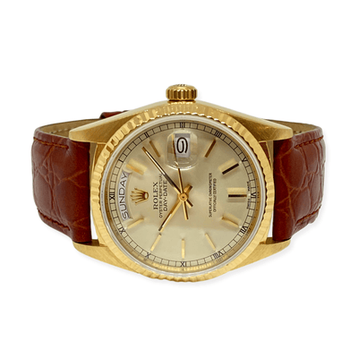 Mark Areias Jewelers Jewellery & Watches Pre-Owned Rolex President Daydate 18K Yellow Gold #18038 1987 36mm