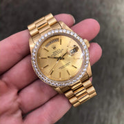 Mark Areias Jewelers Jewellery & Watches Pre-Owned Rolex President Daydate Diamond Bezel 18K Yellow Gold #18038 1983 2.20CTW