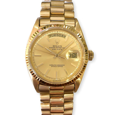 Mark Areias Jewelers Jewellery & Watches Pre-Owned Rolex President Daydate Non-Quickset 18K Yellow Gold #1803 1971 36mm