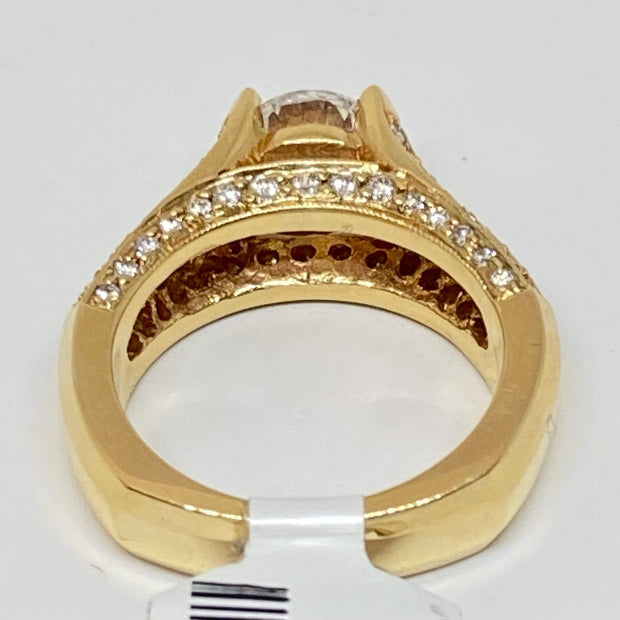 Mark Areias Jewelers Jewellery & Watches Princess Sapphire & Diamond Pave Cathedral Bridge Engagement Semi Mounting 14KY