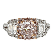 Mark Areias Jewelers Jewellery & Watches Radiant Fancy Pink Diamond Engagement Three Stone Ring 18 Karat 1.02 CT