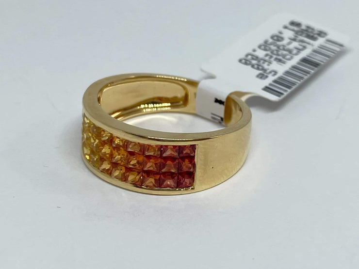 Mark Areias Jewelers Jewellery & Watches Rainbow Orange Yellow Sapphire Invisible Princess Cut Ring Band 14K Yellow Gold