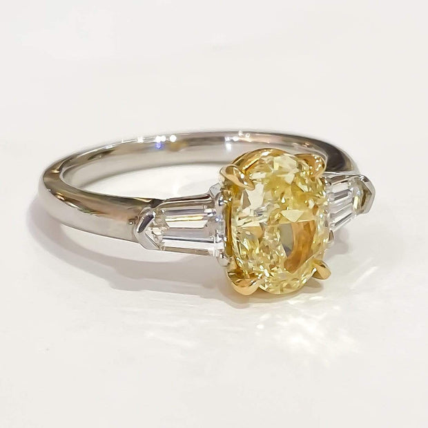 Mark Areias Jewelers Jewellery & Watches Rare Find! Oval Fancy Yellow & Bullet Diamond Three Stone Ring 18K GIA 1.61 SI1