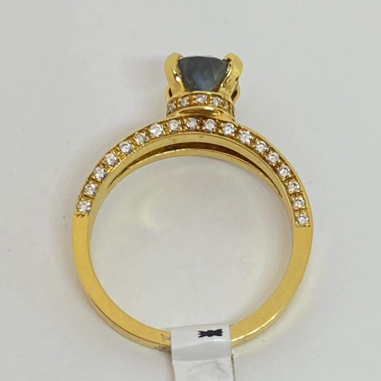 Mark Areias Jewelers Jewellery & Watches Rare Oval Alexandrite & Diamond Pave Split Ring 18K Yellow Gold 1.90 Carat